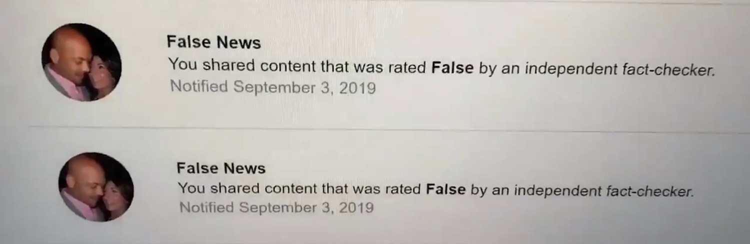 "The ""False News"" violation warnings David J. Harris Jr. received on his page."