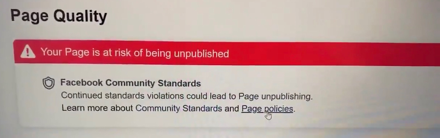 "The ""Your Page is at risk of being unpublished"" warning David J. Harris Jr. received on his page."