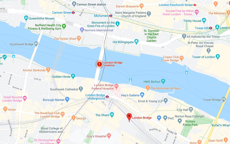 "The ""London Bridge violence"" SOS Alert on Google Maps."