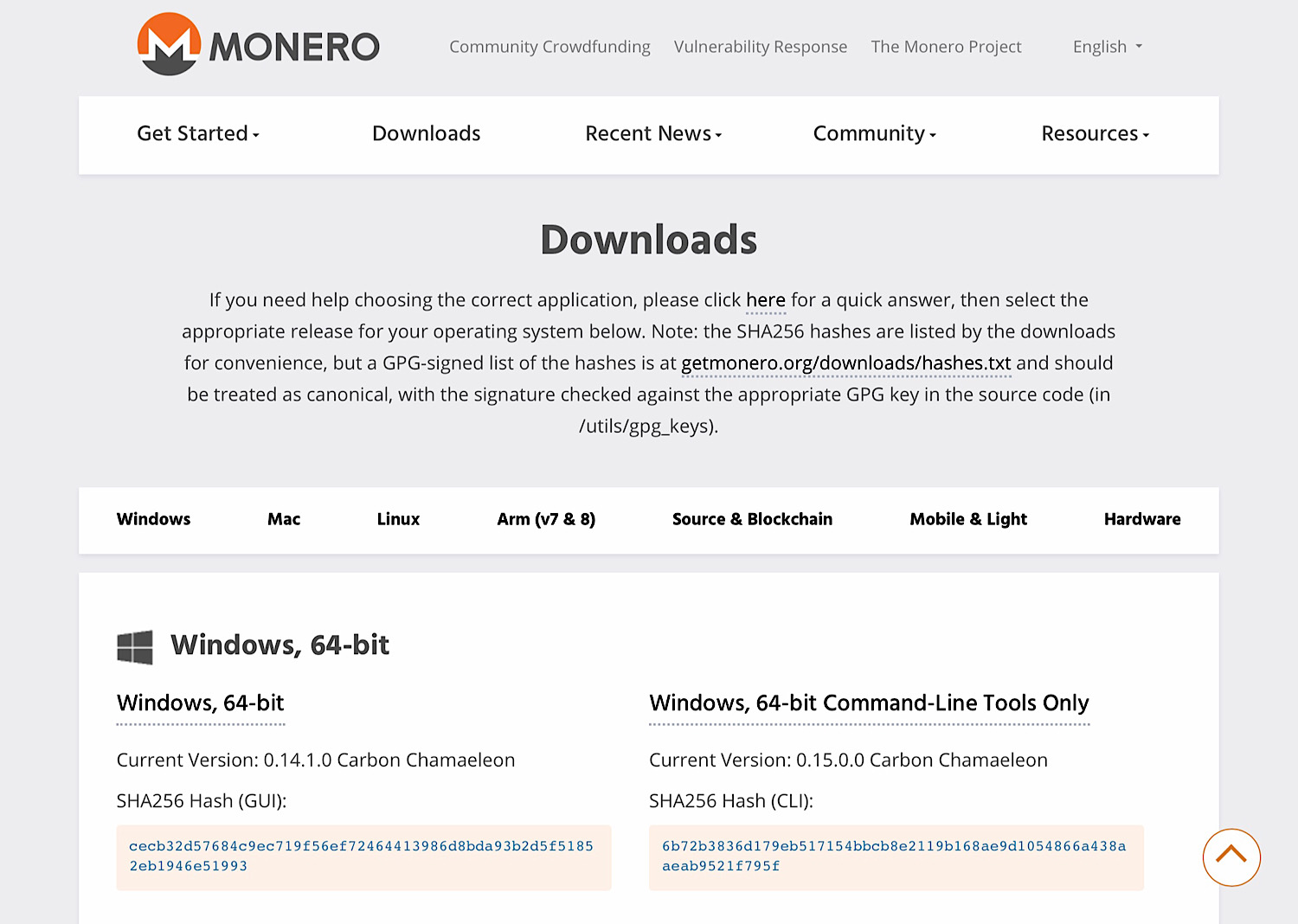 The Monero download page.