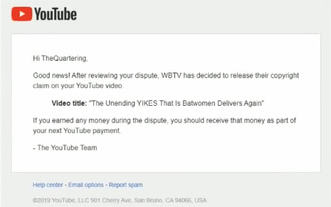 A message showing the WBTV Content ID claim against The Quartering's The UNENDING Yikes That Is Batwoman Delivers Again video being released.