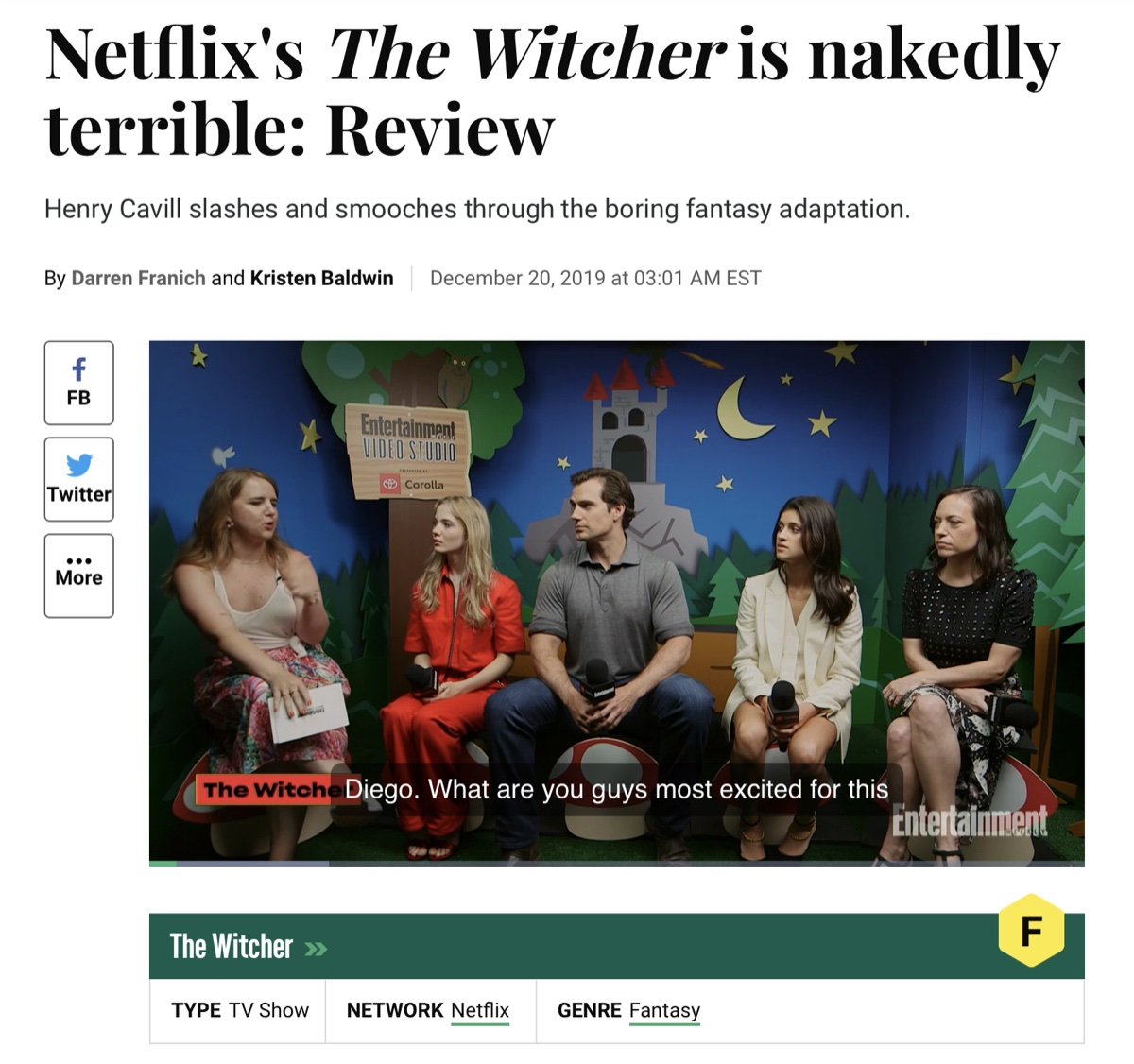 Entertainment Weekly's F rating for Netflix's The Witcher
