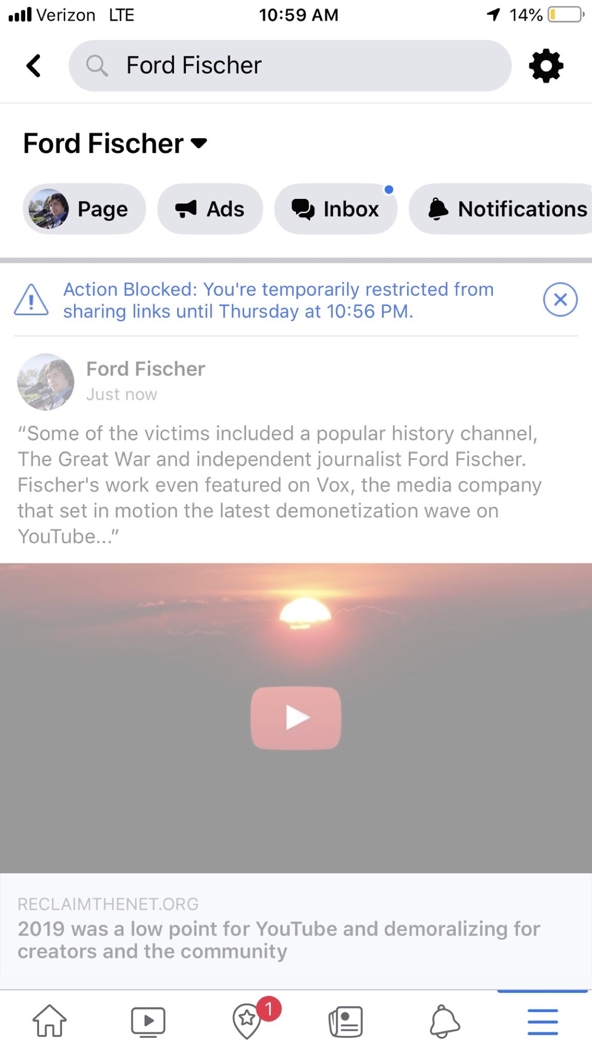 Ford Fischer being blocked from sharing a Reclaim The Link article and restricted from sharing links for 60 hours on Facebook