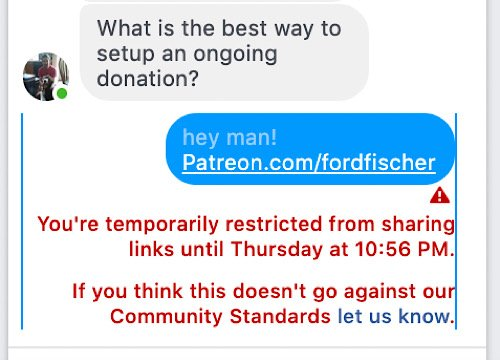 Ford Fischer being blocked from linking to his Patreon in a Facebook PM