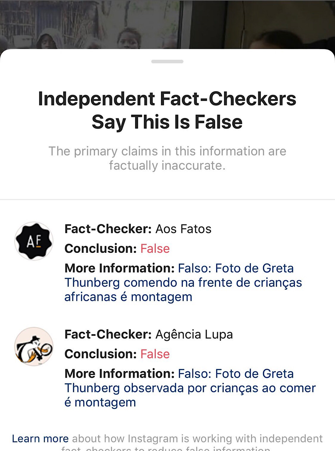 The meme now links to a fact-check notice showing several fact-checkers deciding that it's false (Summit News)