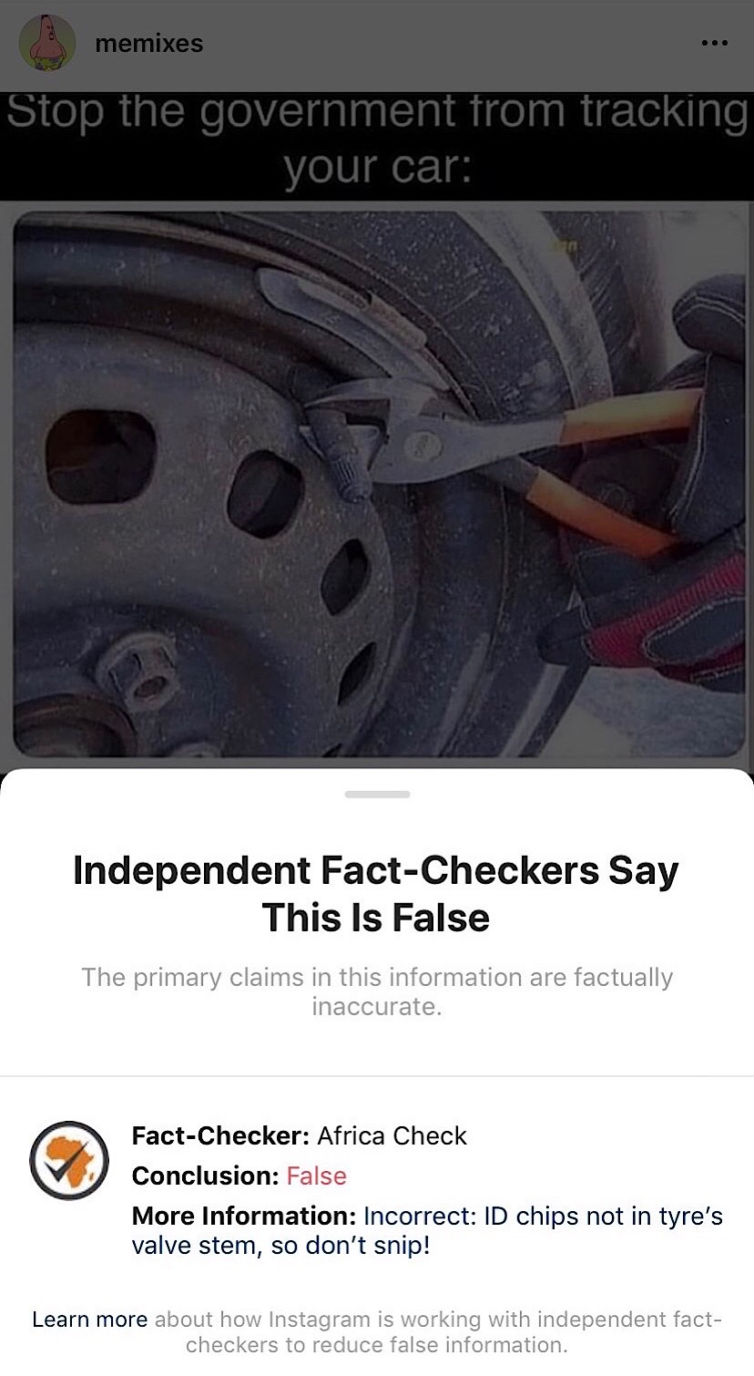 "A car tire meme that's been fact-checked, labeled false, and hidden by Instagram (Instagram - <a href=""https://www.instagram.com/memixes/"">@memixes</a>)"