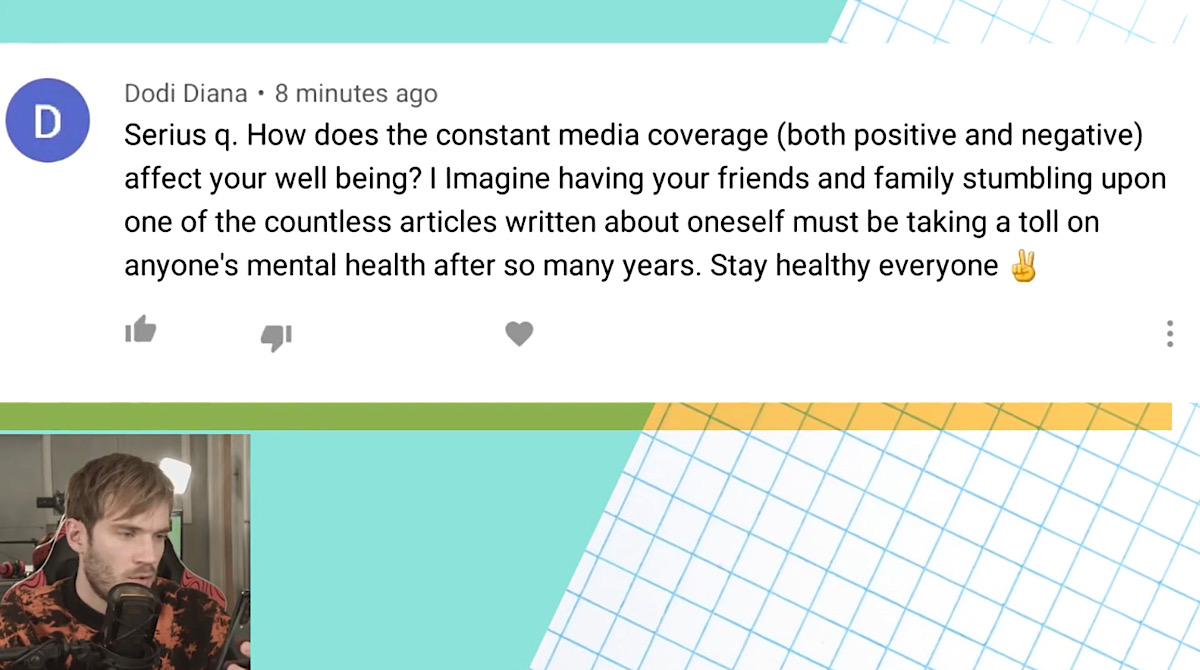 PewDiePie was asked how constant media coverage affects his well-being (YouTube - PewDiePie)