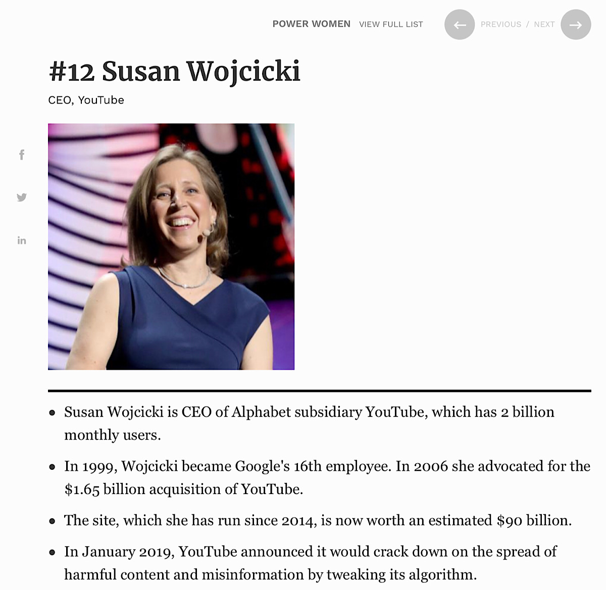 YouTube CEO Susan Wojcicki's at number 12 on the Forbes World's Most Powerful Women of 2019 list