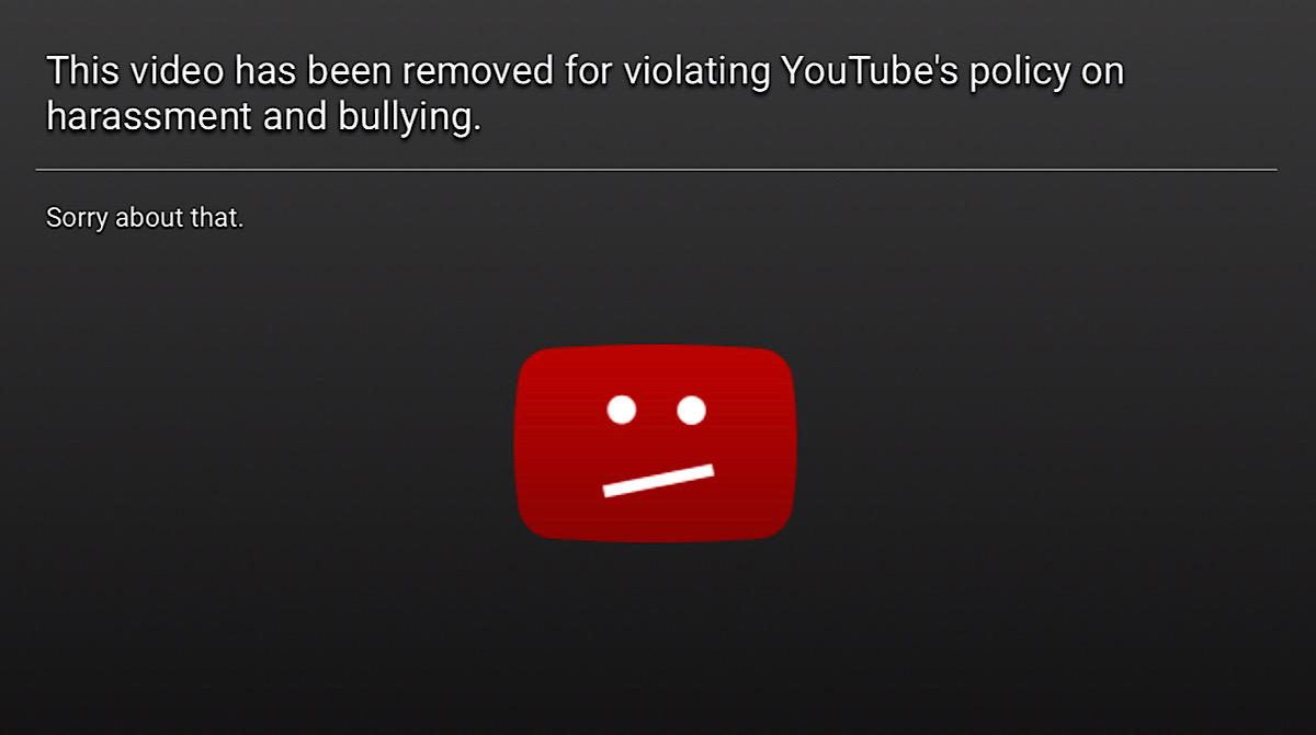 "A message saying ""This video has been removed for violating YouTube's Terms of Service"" on the Leafy Content Cop from iDubbbz (YouTube - iDubbbzTV)"