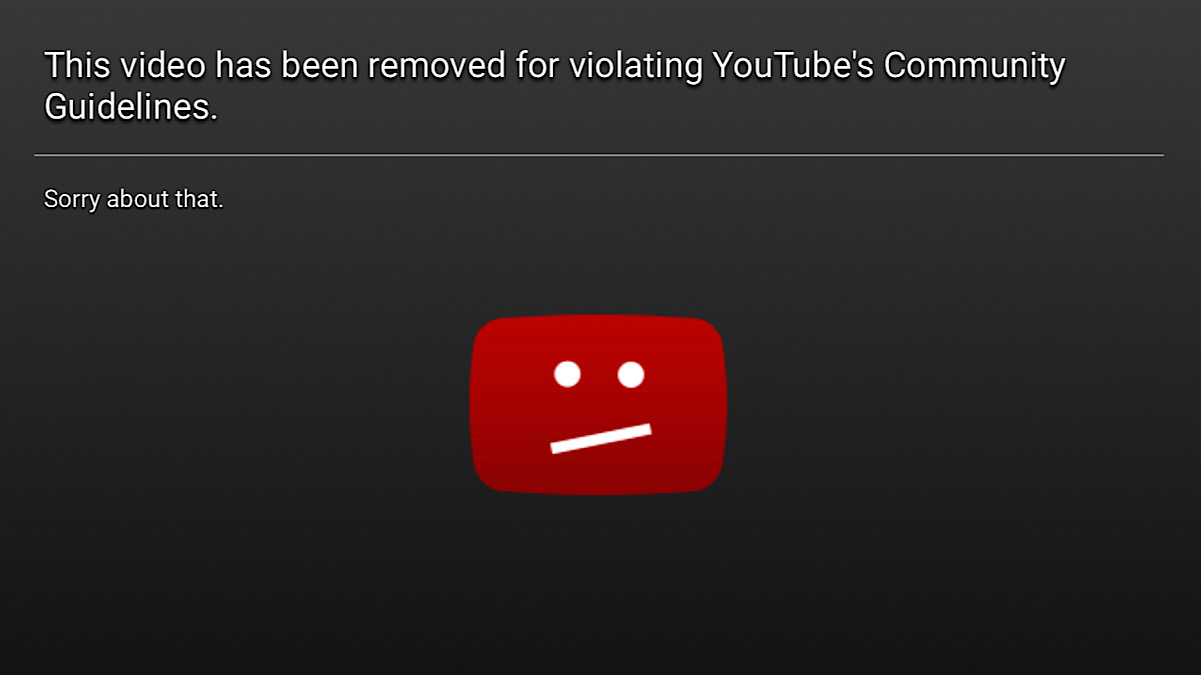 A message saying Rae's video has been removed for violating YouTube's community guidelines (YouTube - Kendall Rae)