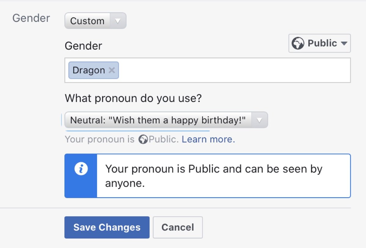 Facebook users can create an unlimited number of gender identities but saying any of them don't exist is now considered hate speech