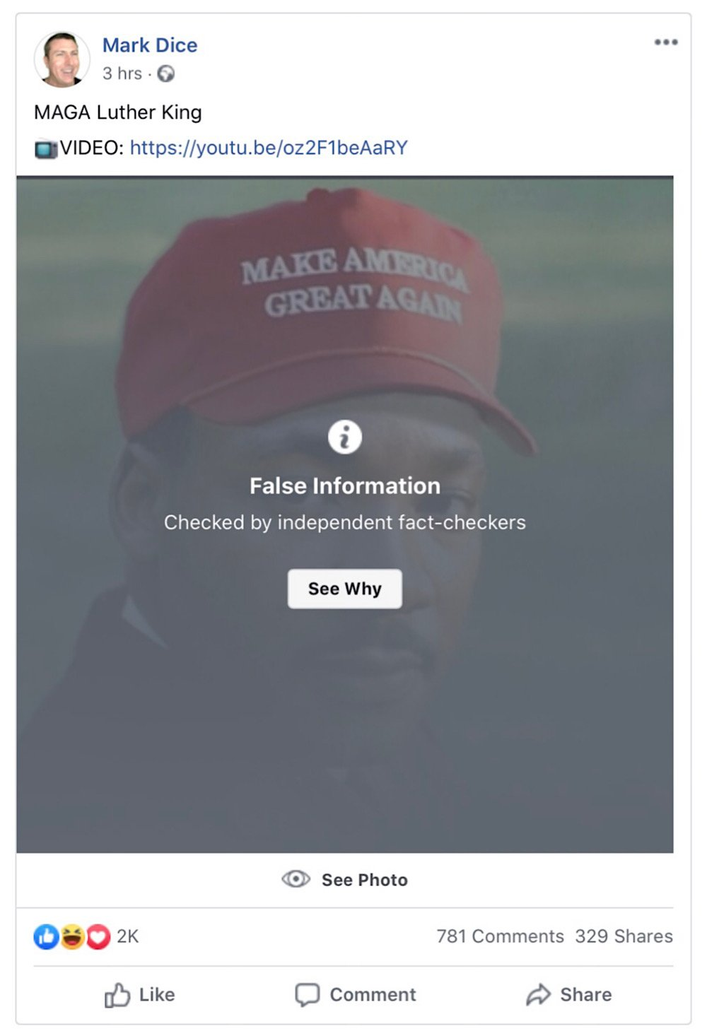 "This Martin Luther King Jr. MAGA hat meme is being hidden behind a ""False Information"" warning (Facebook - <a href=""https://www.facebook.com/MarkDice/photos/a.173346906044037/2926659780712722/"">Mark Dice</a>)"