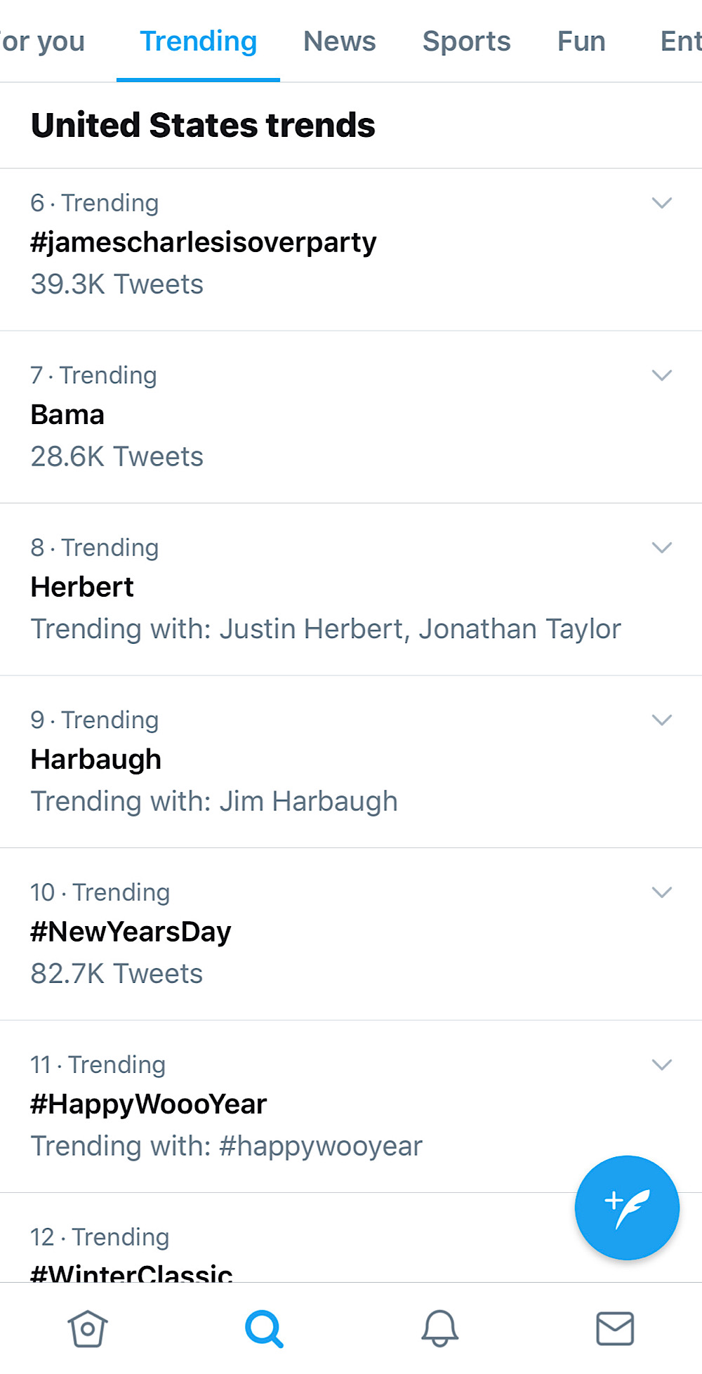 #JamesCharlesIsOverParty trending at number six on Twitter on January 1, 2020