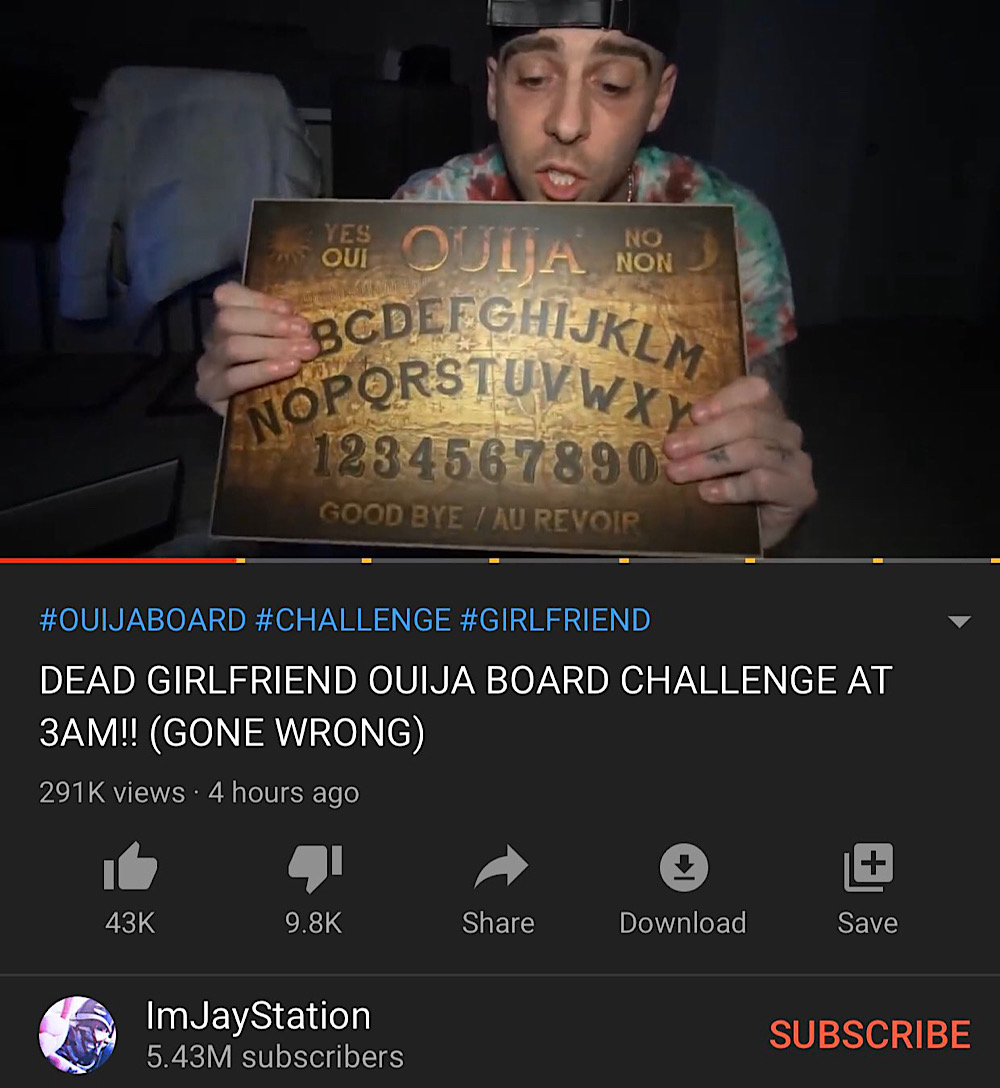 JayStation claimed to have contacted Marano via a ouija board in his third video about her supposed death (YouTube - ImJayStation)