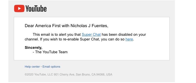 YouTube has disabled Super Chats on Fuentes' channel
