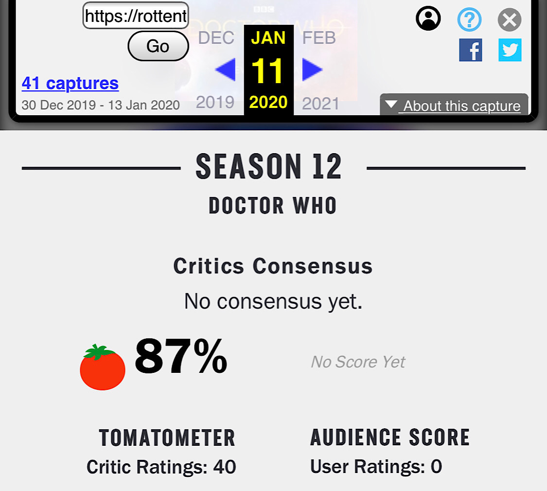By January 11, all the initial user reviews for Doctor Who: Season 12 had been deleted (Wayback Machine - Rotten Tomatoes - Doctor Who: Season 12)