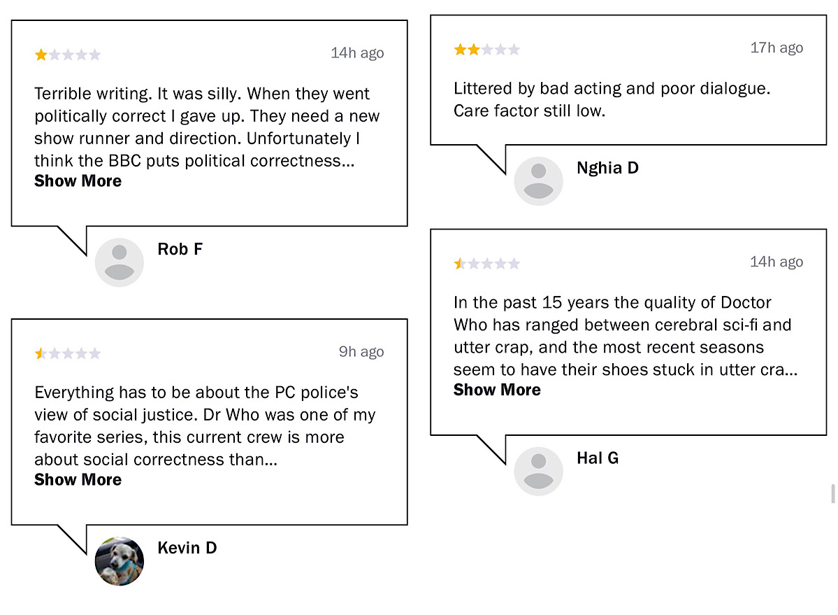 These archived user reviews from January 4 to January 9 show criticism of the Doctor Who: Season 12's themes, quality, story, and acting (Wayback Machine - Rotten Tomatoes - Doctor Who: Season 12)