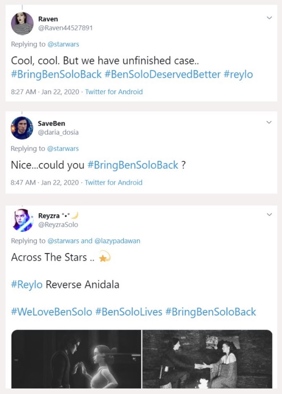 Several Reylos spammed a post from The Clone Wars with Ben Solo hashtags (Twitter - @saltandrockets)