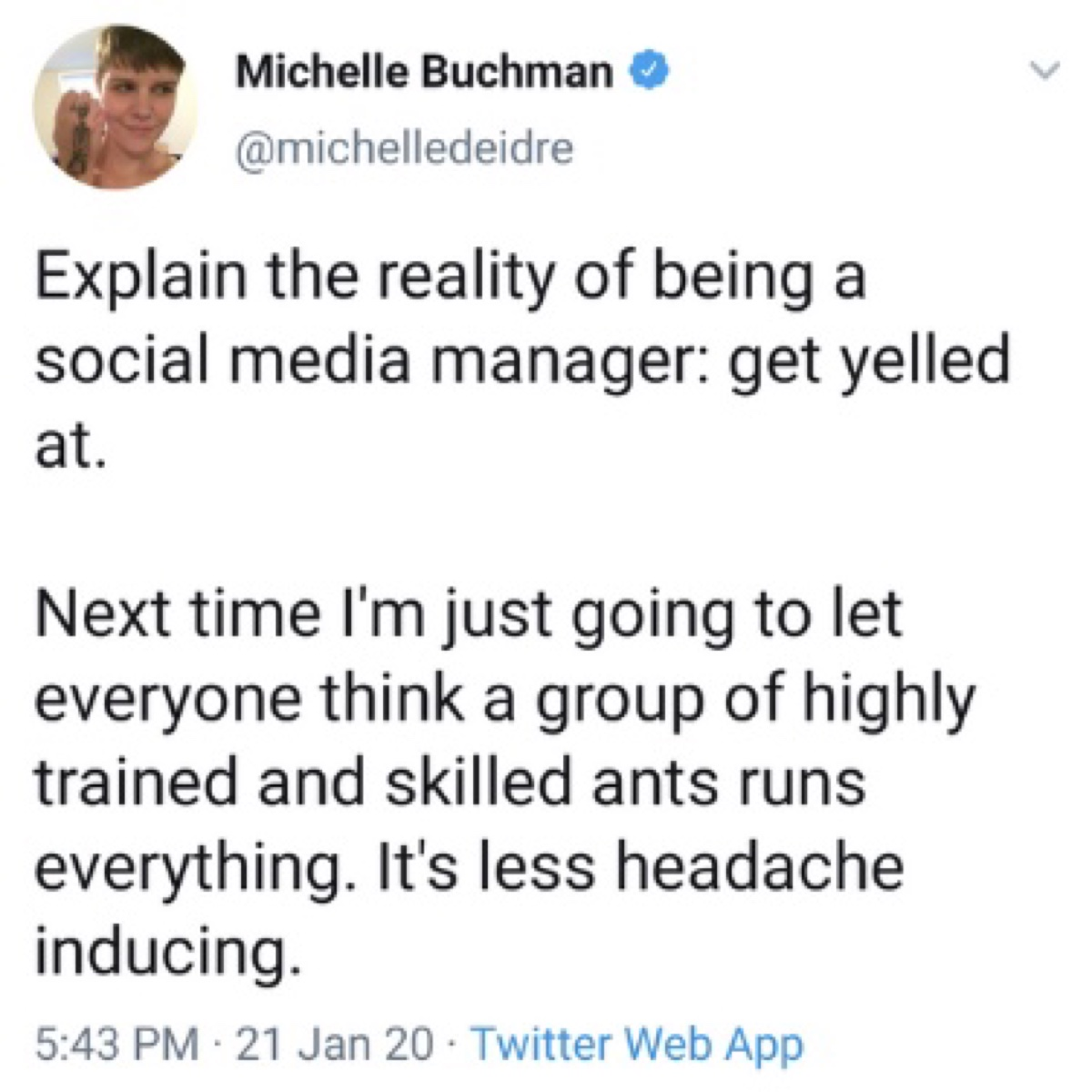 """Buchman expressed her frustration at getting """"yelled at"""" by Reylos (Twitter - @saltandrockets)"""