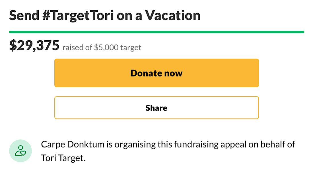 The Send #TargetTori on a Vacation has raised over $29,000 which Tori said she will be giving to a good cause