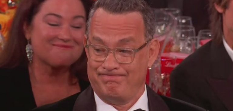 Tom Hanks 2020 Golden Globes Grimace Reaction Gets The Meme Treatment