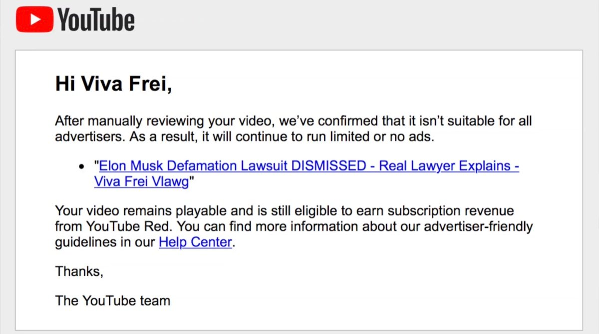 After a manual review, YouTube still decided that Frei's video would be demonetized (YouTube - Viva Frei)