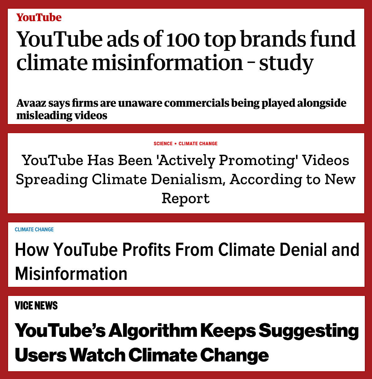 Legacy media outlets claim that this flawed study shows YouTube is recommending, funding, and profiting from climate change misinformation (The Guardian, Time, Gizmodo, Vice)