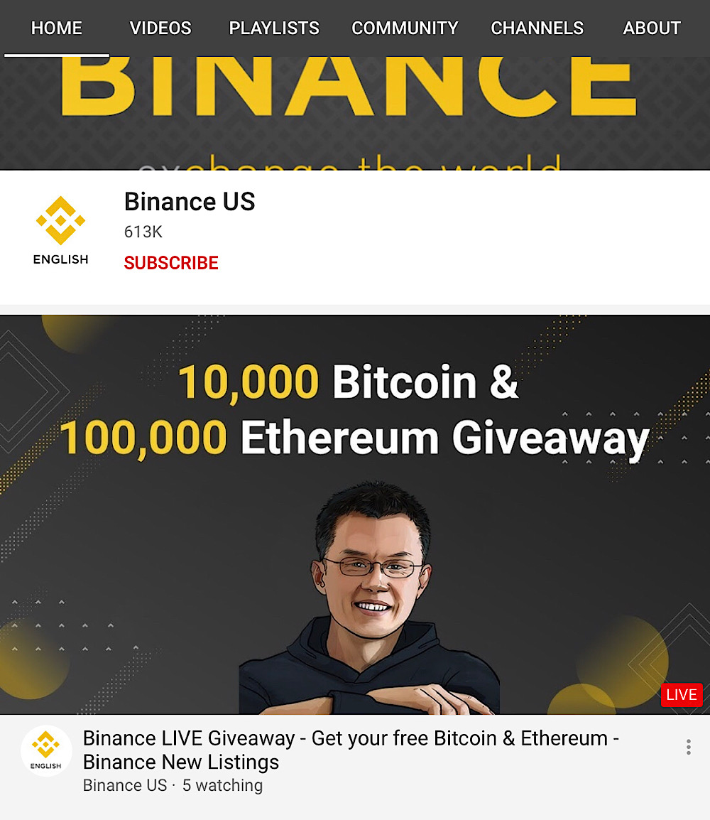 Hackers are using TheAstonishingMinecraft YouTube channel to promote a Binance scam