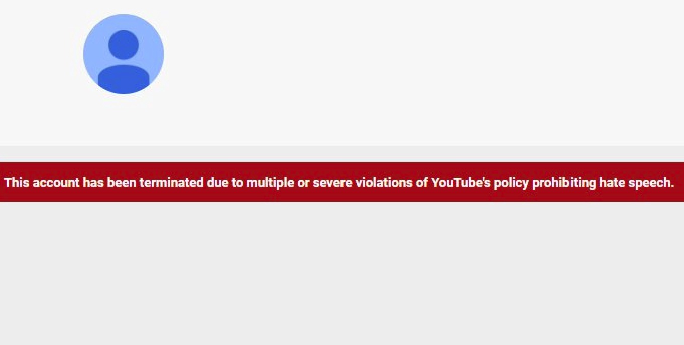 """Fuentes' YouTube channel has been deleted for """"hate speech"""" (YouTube - America First with Nicholas J. Fuentes)"""