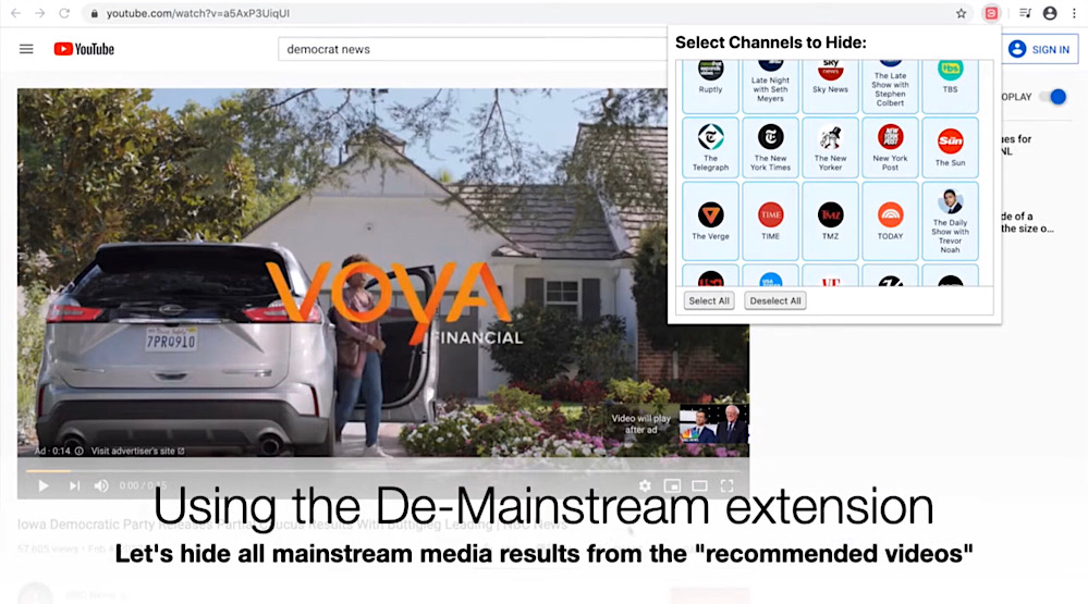 """The De-Mainstream browser extension menu can be used to selectively block legacy media outlets from YouTube search results and recommendations (YouTube - <a href=""""https://youtu.be/k1b9P29MH-w"""">Mark M</a>)"""