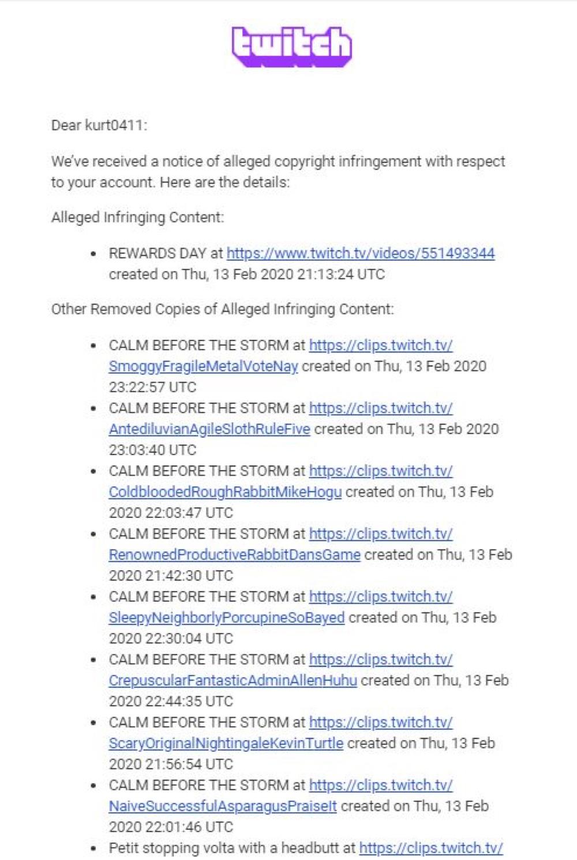 One of Kurt's FIFA 20 Twitch clips received a copyright complaint (Twitter - @Kurt0411Fifa)