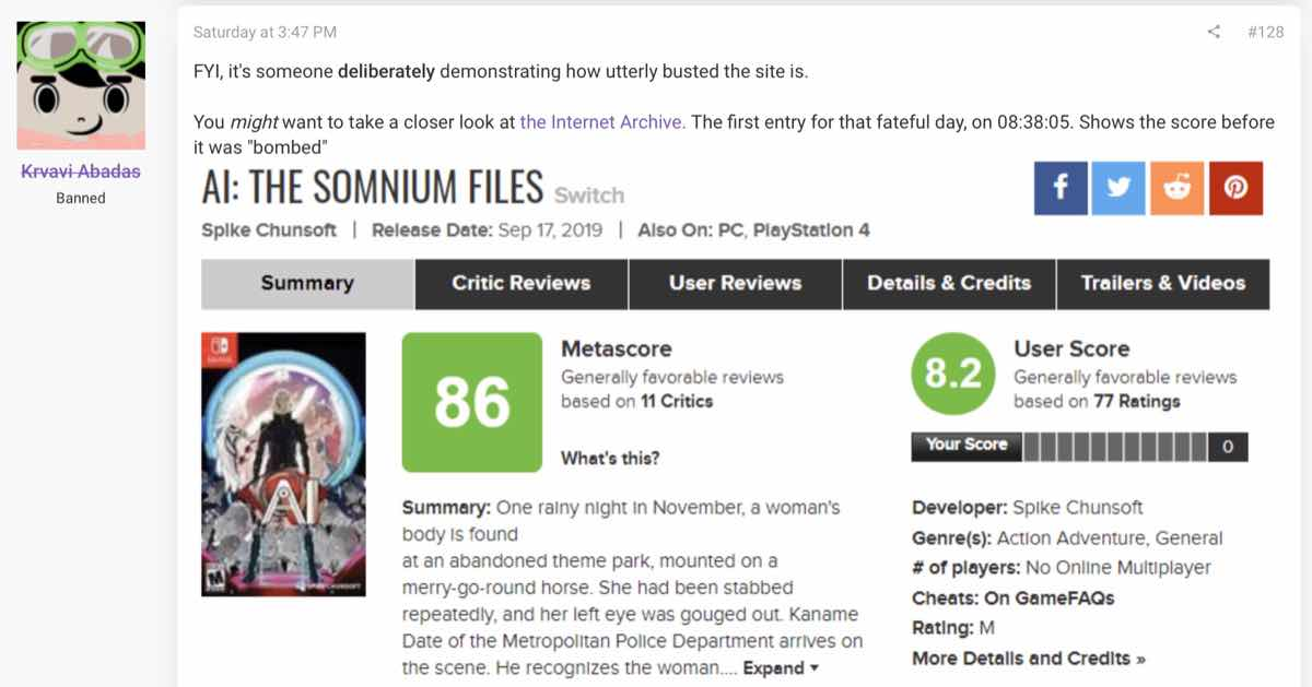 The ResetEra member showed the green User Score before AI: The Somnium Files was review bombed