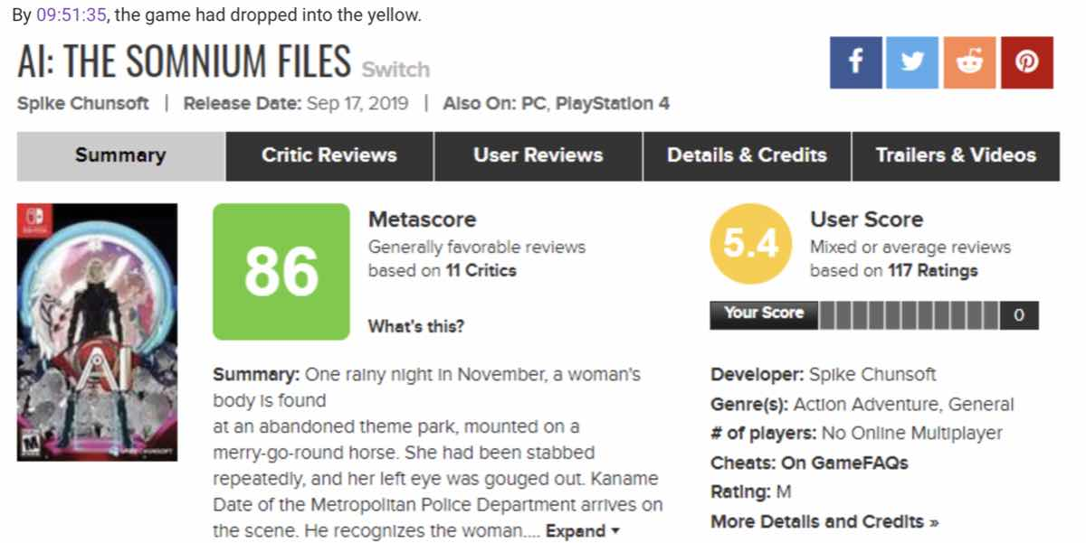 The ResetEra member showed the User Score for AI: The Somnium Files dropping to yellow in just over an hour
