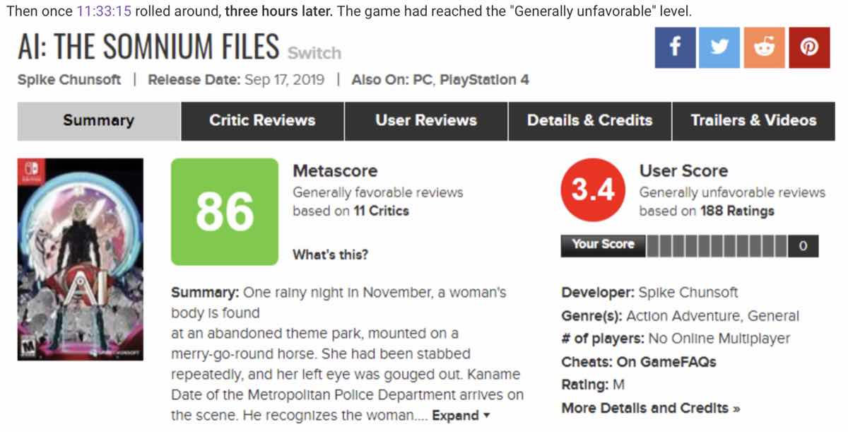 The ResetEra member showed the User Score for AI: The Somnium Files dropping to red in just over under three hours