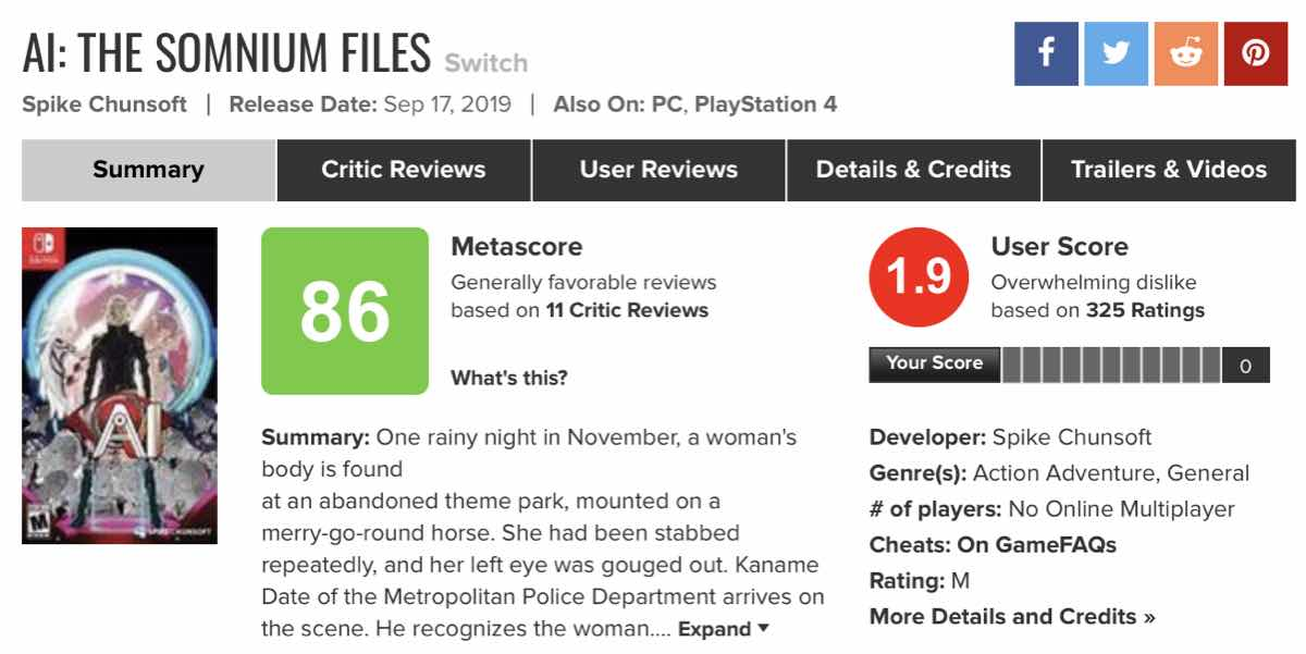 The User Score for AI: The Somnium Files dropped to 1.9 at the height of the review bombing (Wayback Machine - Metacritic - AI: The Somnium Files)