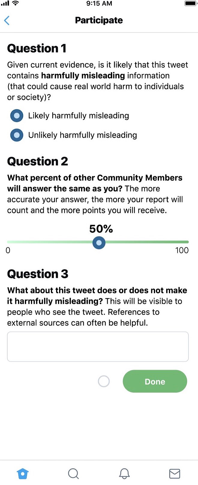 The demo of the Community Notes feature asks users to rate whether tweets are harmfully misleading and to explain why (Twitter - @oneunderscore__)