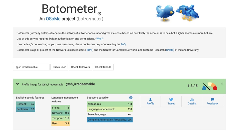 Botometer analysis of @petefrt before it was deleted gave it a 2% probability of being a bot (Twitter - @aengus_b)