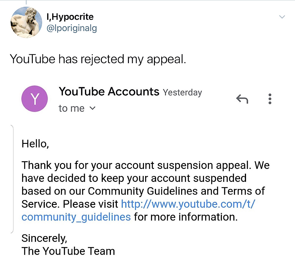 YouTube told I,Hypocrite that his account suspension appeal had been rejected