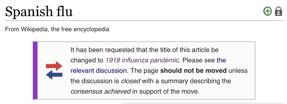 """Wikipedia editors are discussing whether the name of the Spanish flu page should be changed to """"1918 influenza pandemic"""""""