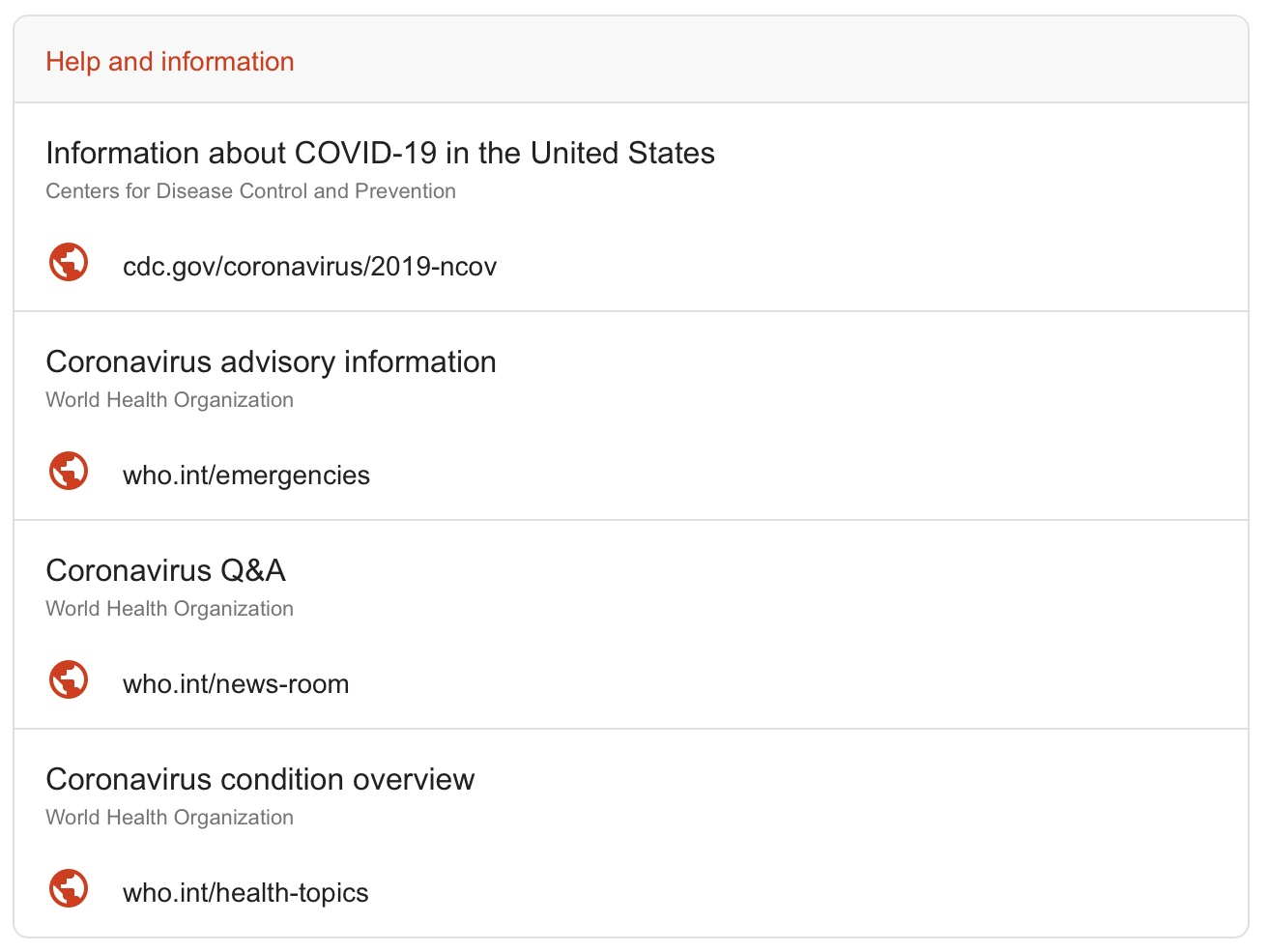 "The Google Search SOS Alert links to ""help and information"" from the CDC and WHO"