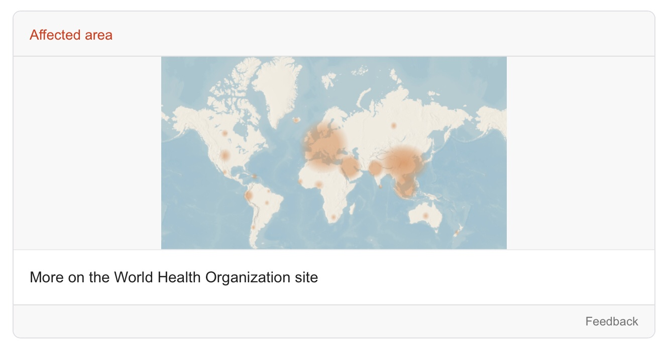 "The Google Search SOS Alert shows a coronavirus ""affected area"" map from the WHO"
