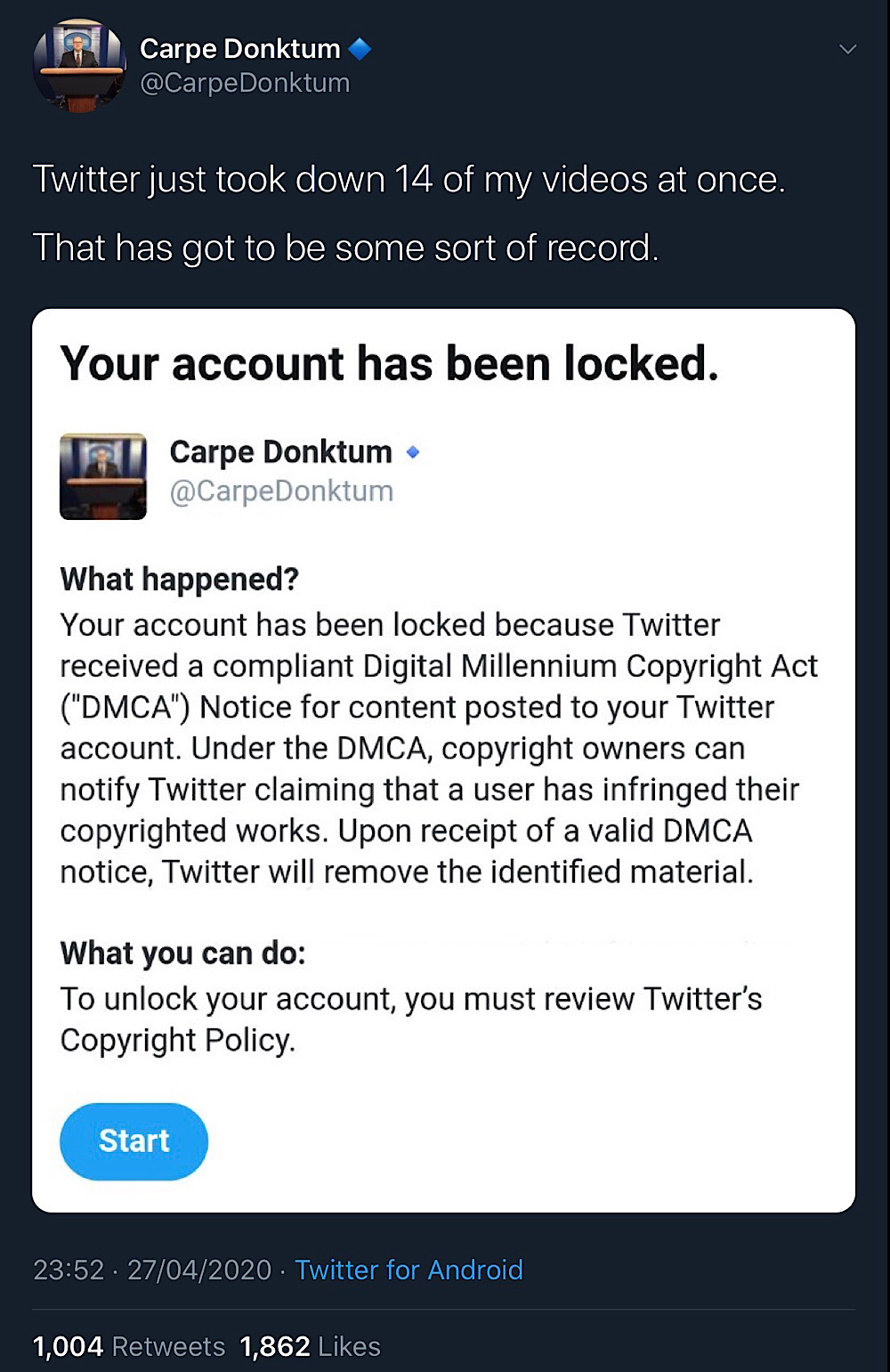 Carpe Donktum had his Twitter account locked and 14 memes removed after the account was hit with a wave of DMCA notices (Twitter - CarpeDonktum)