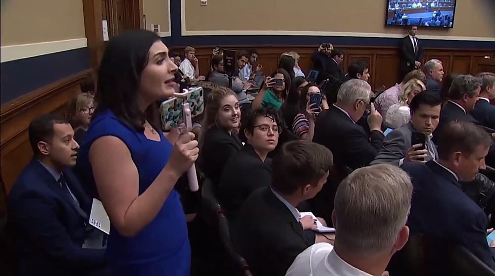 Two months before she was banned on Twitter, Laura Loomer spoke up during a 2018 congressional hearing and urged President Trump to help conservatives who were being censored on social media (YouTube - C-SPAN)