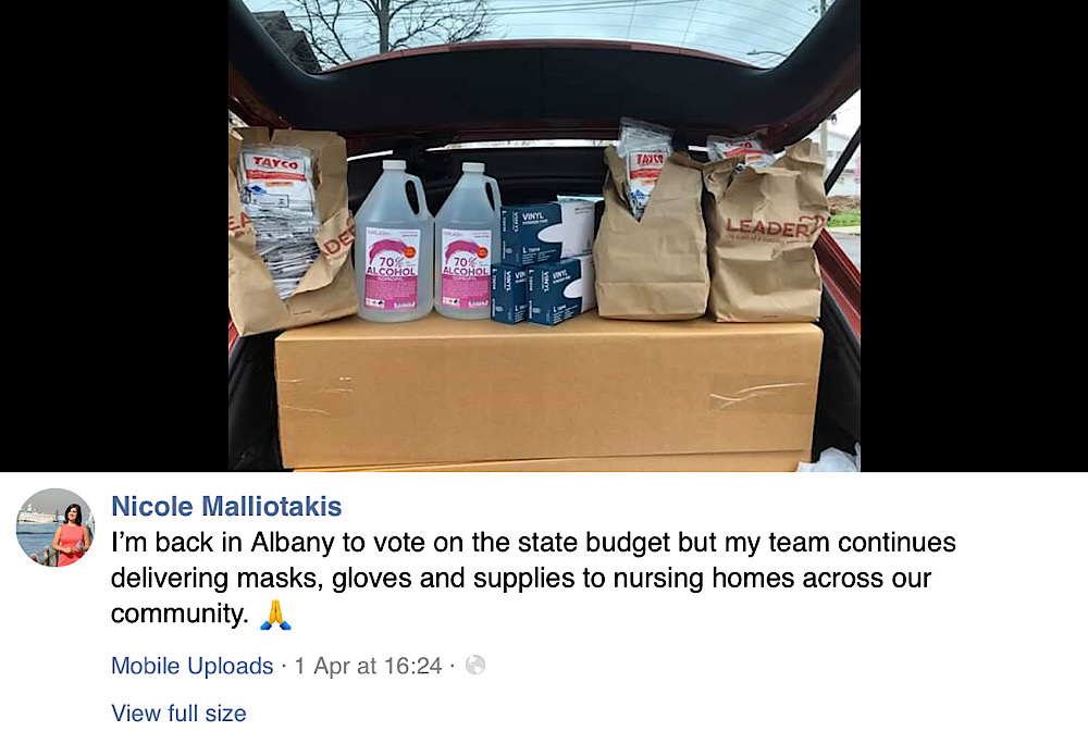 This April 1 Facebook post contains the original photo of supplies and states that Nicole Malliotakis was in Albany while her team was handing out supplies across the community (Facebook - Nicole Malliotakis)