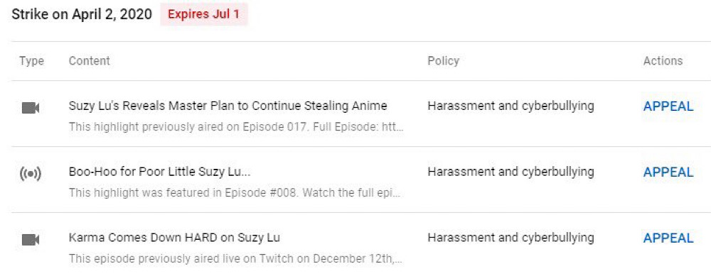 The Tipster News channel was hit with a strike and three of its Suzy Lu videos were removed (Twitter - @Nicholas_DeOrio)