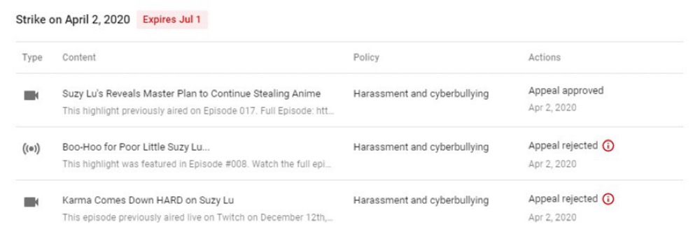 One of Tipster News' Suzy Lu videos was restored in age-restricted mode but the other two are still down (Twitter - @TipsterNewsTeam)