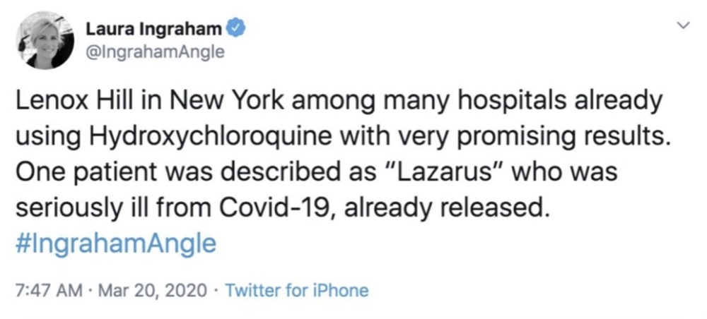 """Twitter removed this tweet from Laura Ingraham where she wrote hydroxychloroquine had """"very promising results"""" (Twitter - @IngrahamAngle)"""