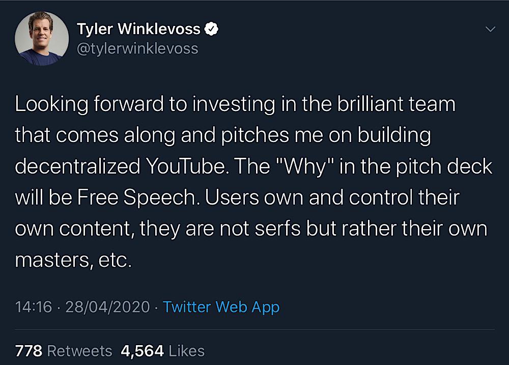 Tyler Winklevoss tweeted out his plans to invest in a free speech focused, decentralized YouTube alternative (Twitter - @tylerwinklevoss)