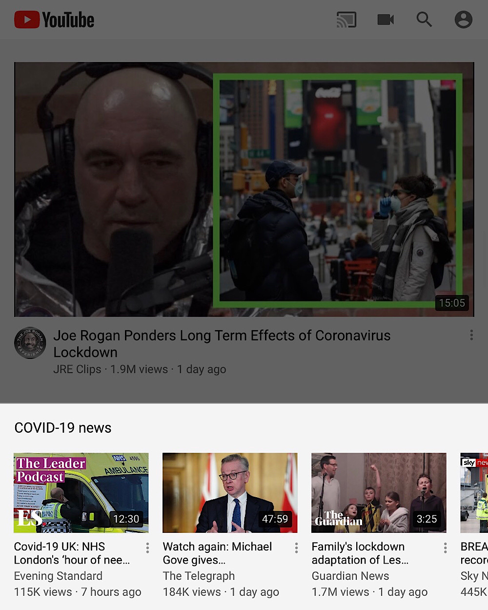YouTube promotes videos from many UK newspapers on its homepage via its coronavirus news shelf