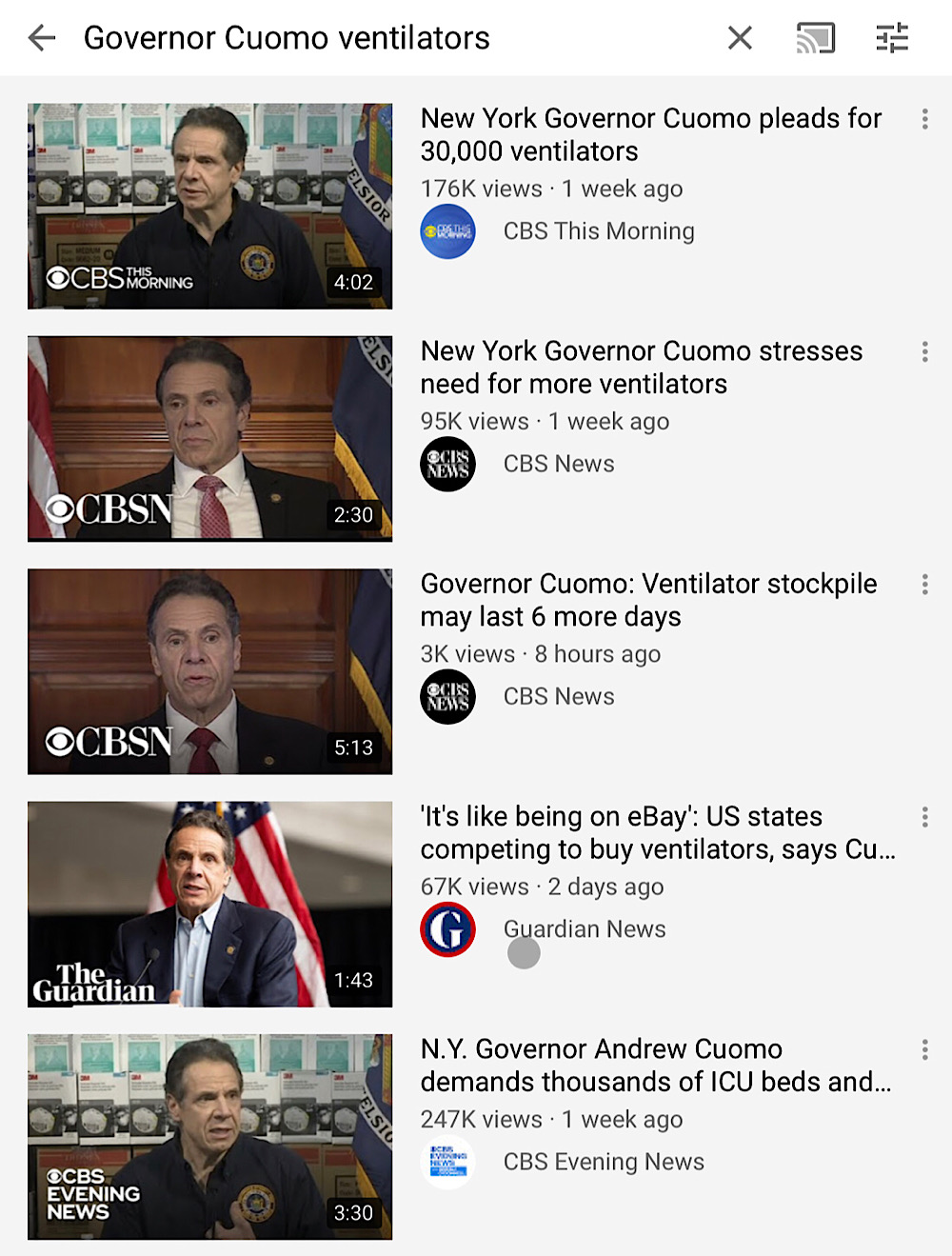 """The top search result for """"Governor Cuomo ventilators"""" on YouTube features what would seemingly be an example of misinforming users about health matters related to the coronavirus"""